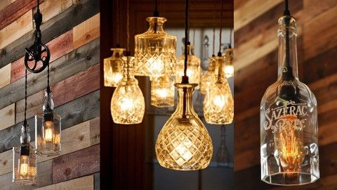 Upcycle Old Liquor Bottles Into This Incredible DIY Lighting Project on industrial lighting ideas, gold lighting ideas, homemade lighting ideas, modern lighting ideas, blue lighting ideas, creative lighting ideas, cute lighting ideas, custom lighting ideas, inexpensive lighting ideas, path lighting ideas, pinterest lighting ideas, antique lighting ideas, diy lighting ideas, cool lighting ideas, recycled lighting ideas, do it yourself lighting ideas, reclaimed lighting ideas, zen lighting ideas, diy pendant light ideas, patriotic lighting ideas,