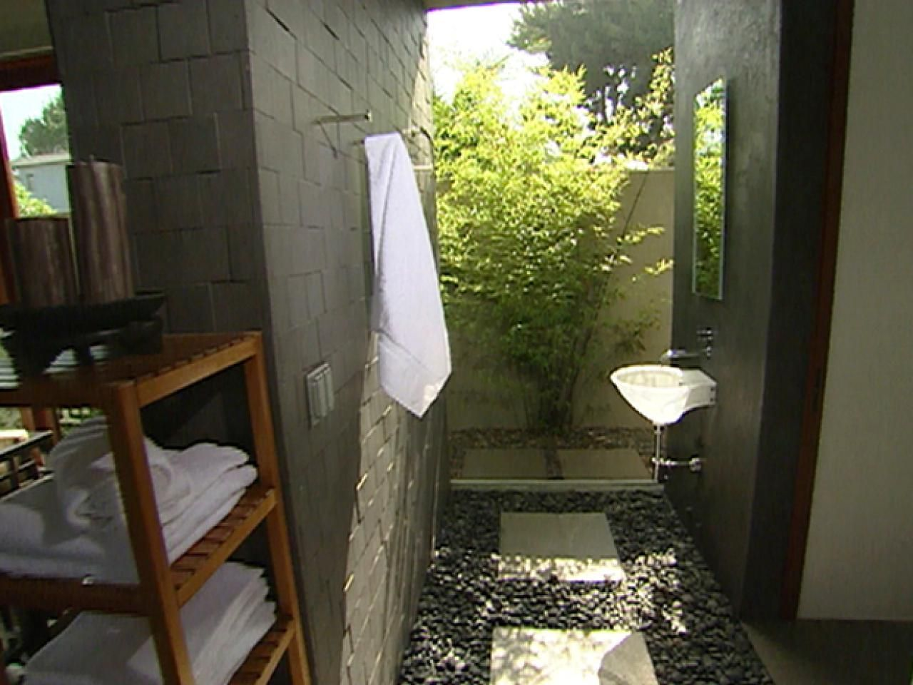 Inspiration Web Design HGTV shows you how East meets West in an innovative poolside bathroom design