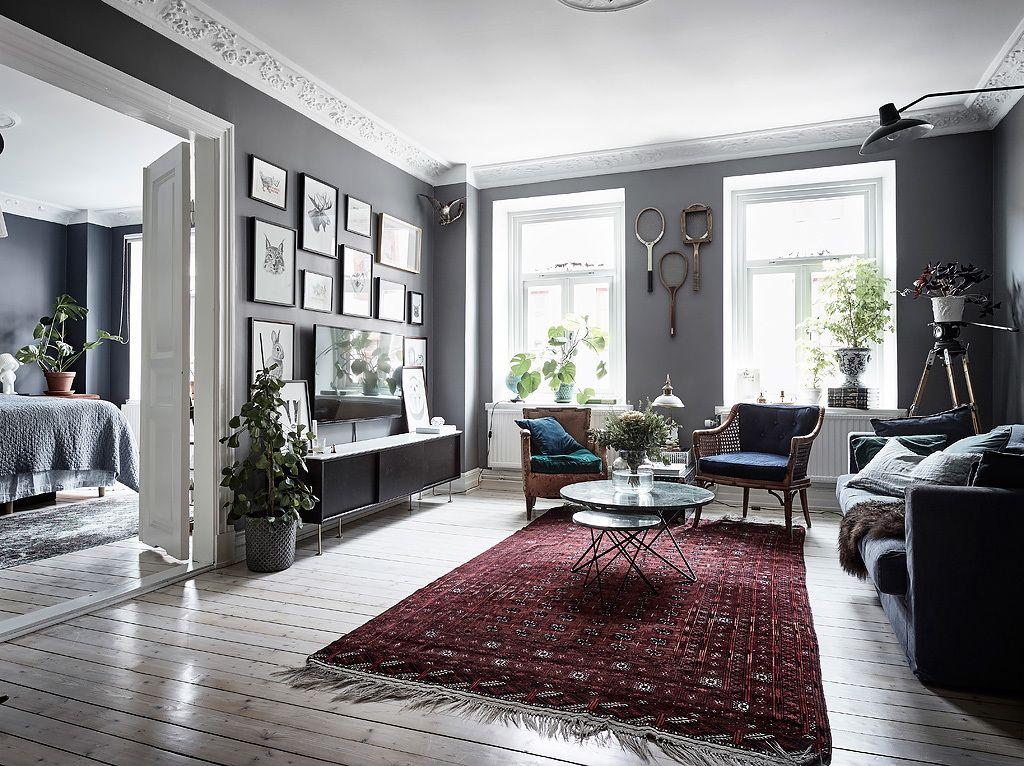 bohemian artist home scandinavian apartment  elle decor