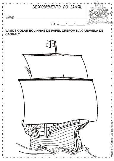 Atividade Descobrimento do Brasil Colagem | Educação Infantil ...