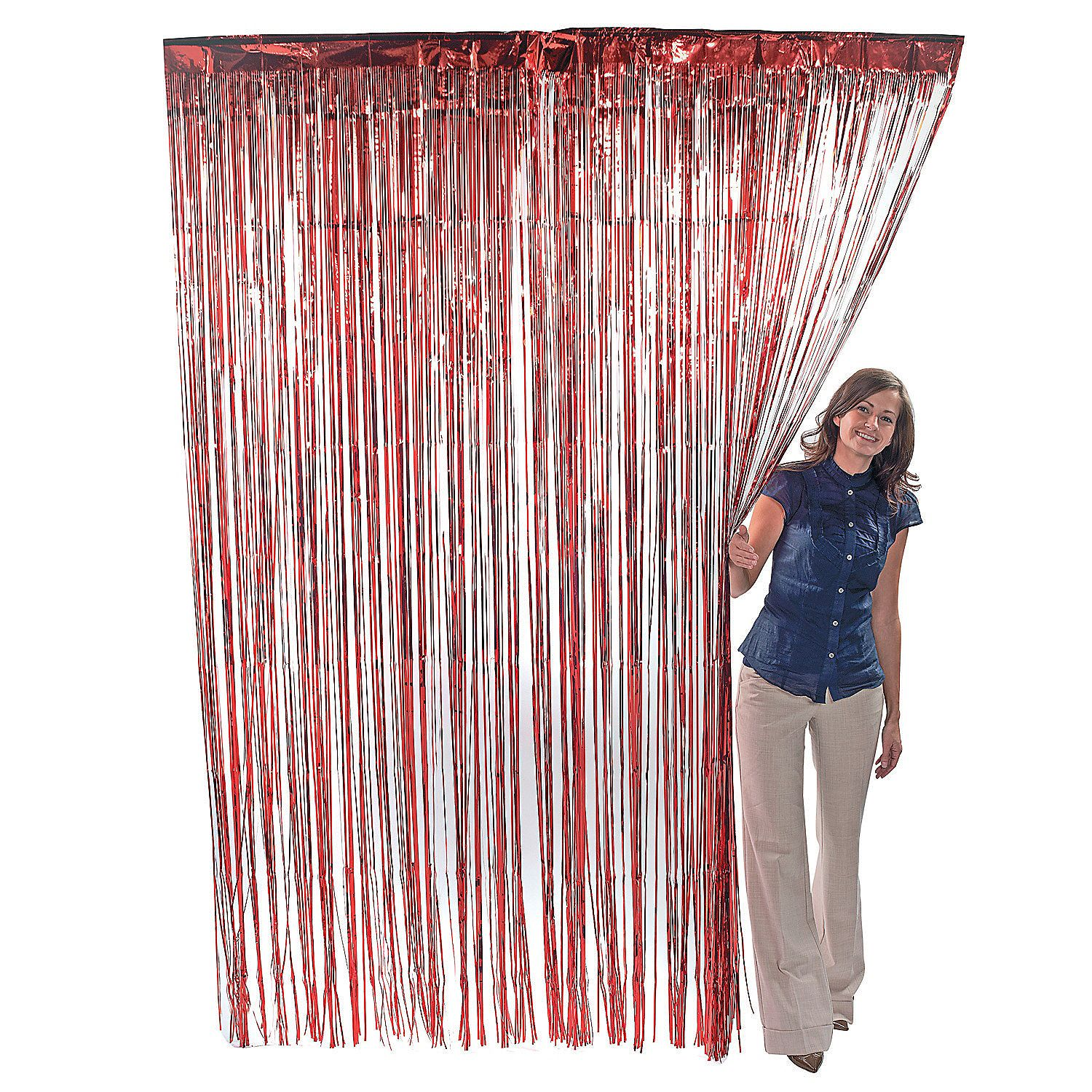 Metallic Red Fringe Curtains