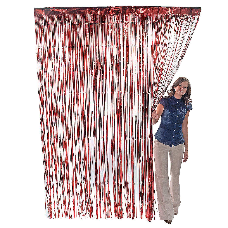red metallic fringe curtain curtain