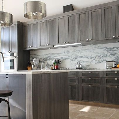 Distressed Gray Kitchen Cabinets Pin by Cynthia Harwood on New House | Stained kitchen cabinets