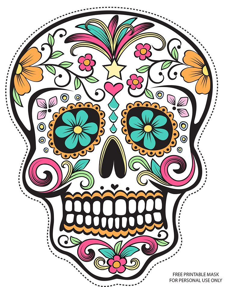 Free Printable Character Face Masks Day Of The Dead Mask Sugar
