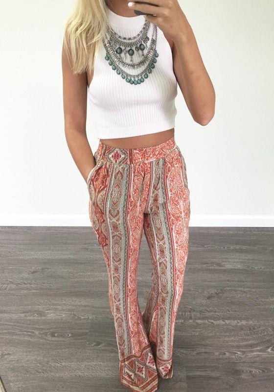 Orange Floral Pockets Print Loose Fashion Long Pants | Floral Printing and Bohemian pants