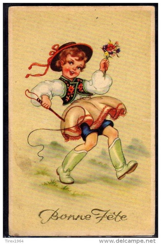 NZ170 Cute BOY COSTUME FOLKLORE WHIP FLOWERS Fine LITHO