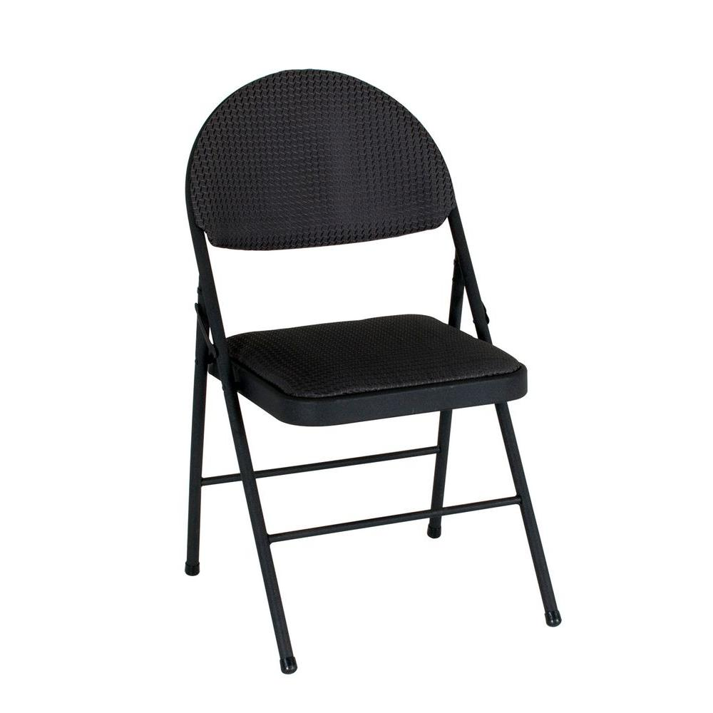 Cosco Oversized Black Metal Frame Padded Seat Folding Chair Set
