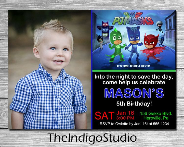 PJ Masks Birthday Invitation DIY Printable Invite Cat Boy Gekko Owlette You Print Cats