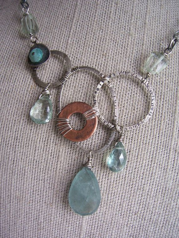 Moss Aquamarine Sterling Silver And Copper Dna Jewelry