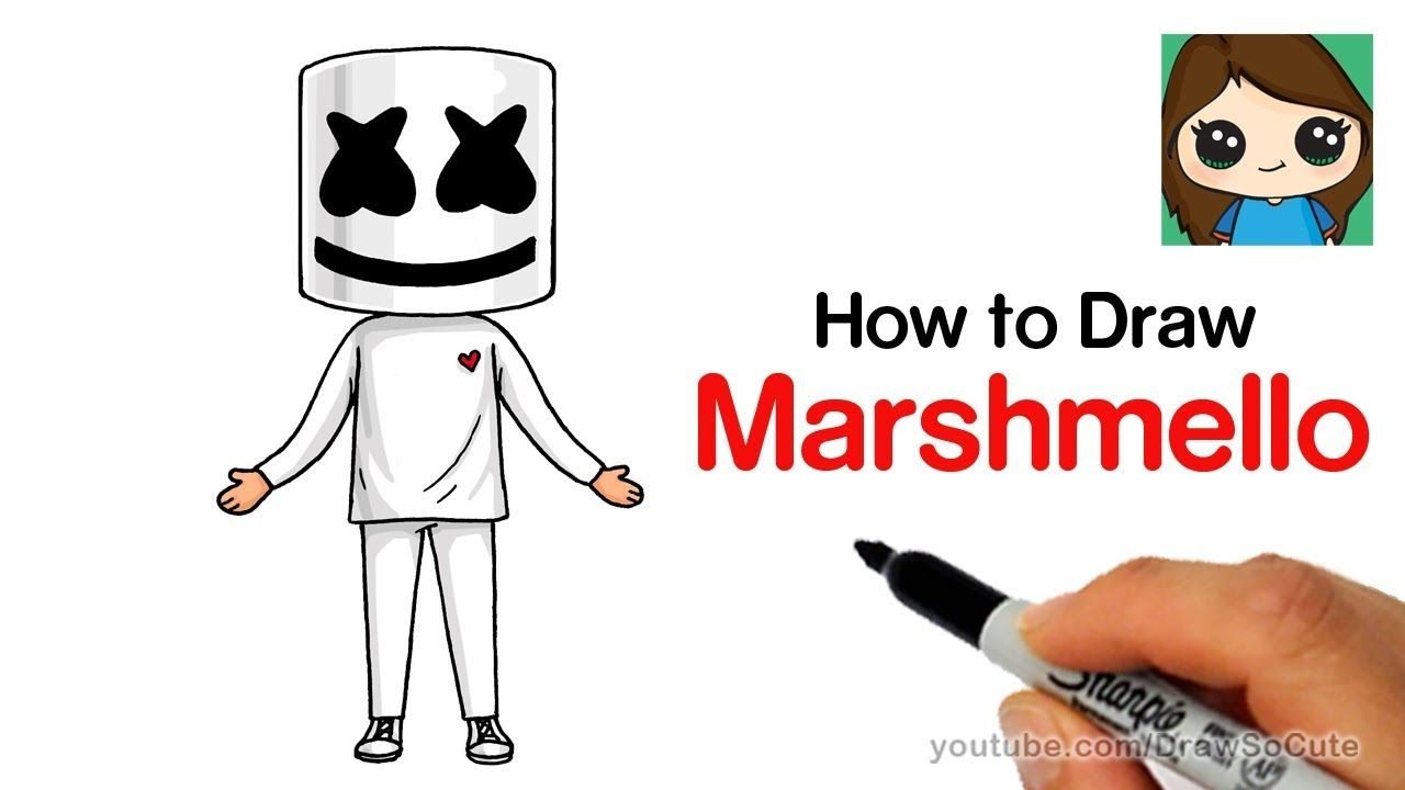 How To Draw Marshmello Easy Youtube Art And Design In 2019