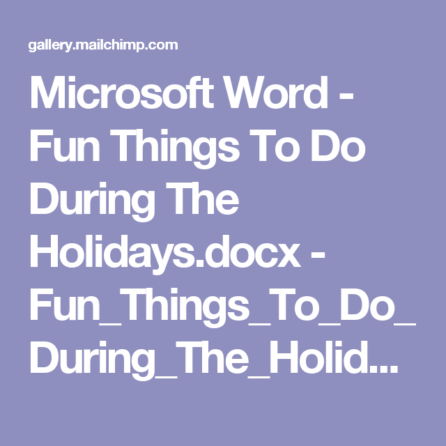 microsoft word - fun things to do during the holidays docx