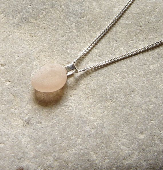 Rare Tiny Pink English Sea Glass Necklace by Northumbria Gems - jewellery hand made in the north east of England.