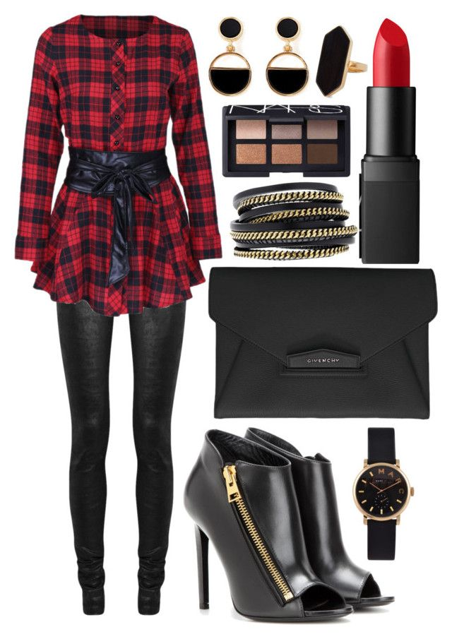 """""""Untitled #1711"""" by elizabeth-xsomosmasqueamorr ❤ liked on Polyvore featuring Rick Owens, WithChic, Givenchy, Marc by Marc Jacobs, Tom Ford, LK Designs, NARS Cosmetics, Warehouse and Jaeger"""
