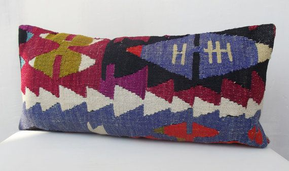 Blue Multicolor Lumbar Pillow Turkish Kilim Lumbar by Sheepsroad, $55.00