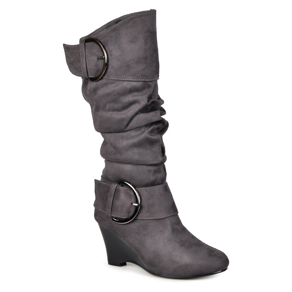 f146bef6ba2 Women s Journee Collection Extra Wide Calf Buckle Slouch Wedge Knee-High  Boots - Grey 10 Extra Wide Calf