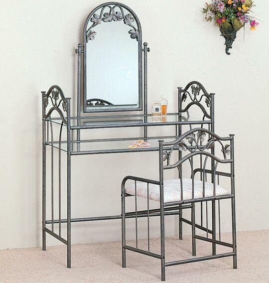 3 pc nickel bronze finish metal and glass bedroom vanity make up ...
