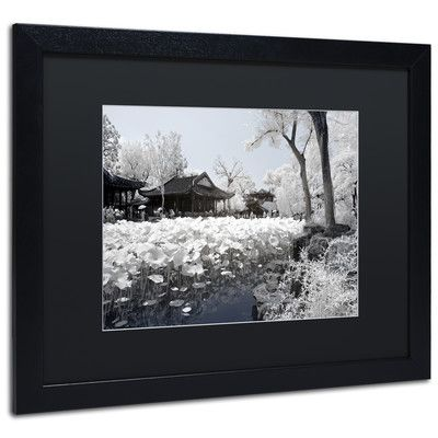 """Trademark Art """"Lotus Serenity"""" by Philippe Hugonnard Framed Photographic Print Size: 11"""" H x 14"""" W x 0.5"""" D, Matte Color: Black"""