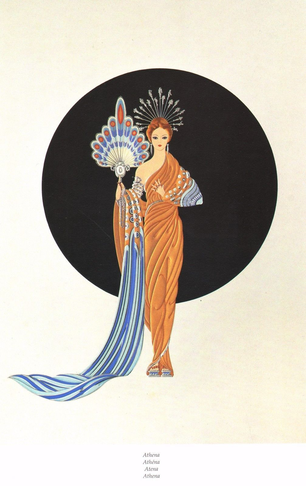 classic erte art deco book print athena greek goddess of art
