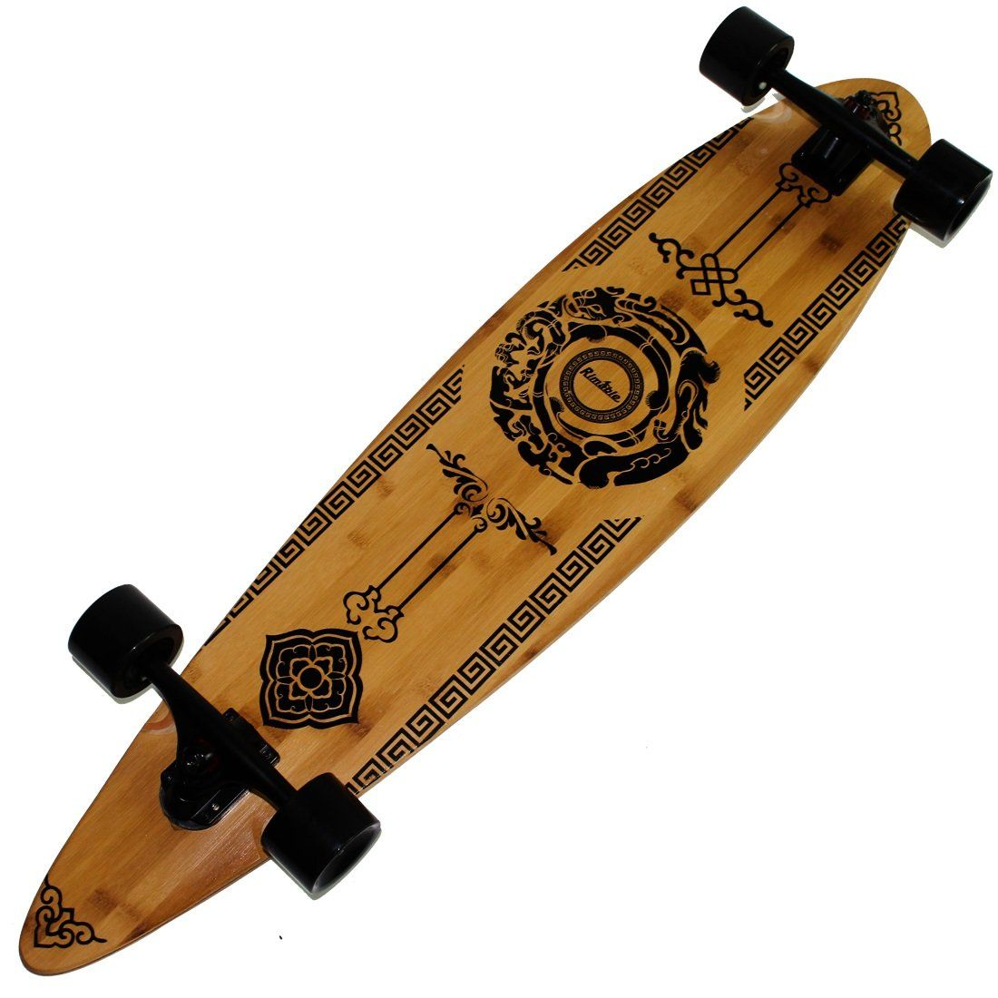 "Rimable Bamboo Pintail Longboard (41 Inch, Auspicious Clouds). Bamboo Longboard Deck:Pintail Style 9 Ply Maple/Bamboo Hybrid Laminate With Photo Heat Transfer Graphic:Auspicious Clouds. Trucks: 7"" 180 Aluminium Drop Through Longboard Trucks can support the bamboo Longboard more weight!. Wheels: 70x51mm PU Wheels Hardness 85A. Bearings: ABEC-11 With High-Speed Lubricant make the bamboo skateboard more smooth. Grip Tape:High Quality OS780 More Meticulous And Durable."