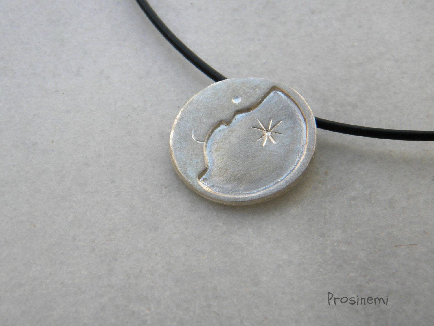 Half Crescent Moon With Face Tattoo: Silver Moon Necklace, Half Moon Pendant, Love You To The