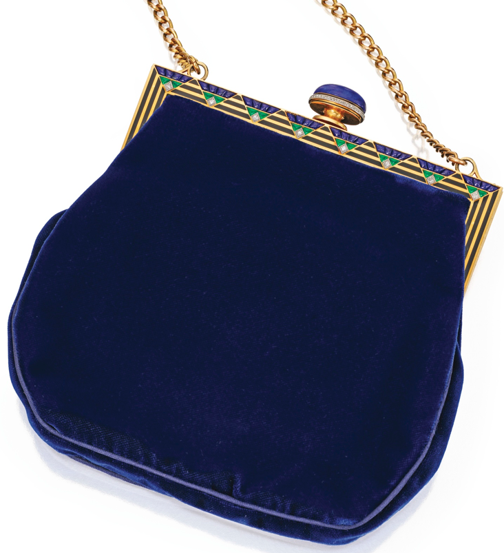 Cartier Handbag From 1920s 30s W Bejewelled Clasp Made Of Enamelled Gold Set Lapis Lazuli And Other Coloured Stones Embellished With Tiny Diamonds