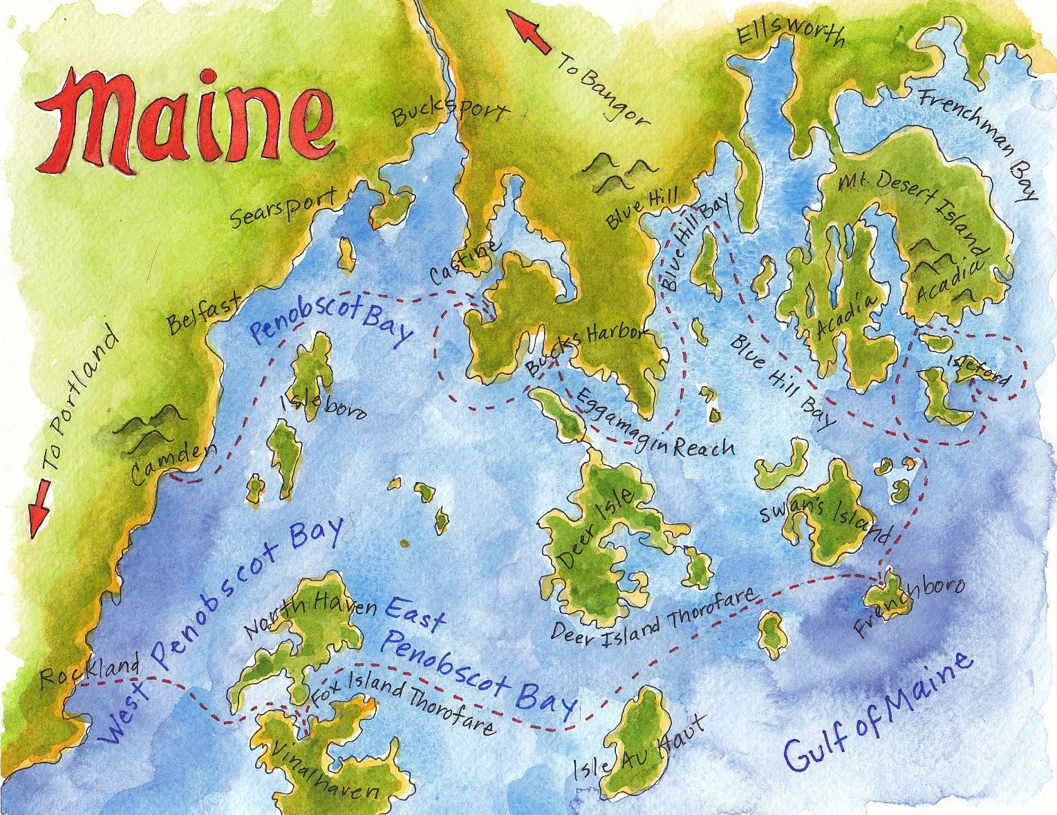 Penobscot Bay, Maine Coastal Map   My Neck of the Woods