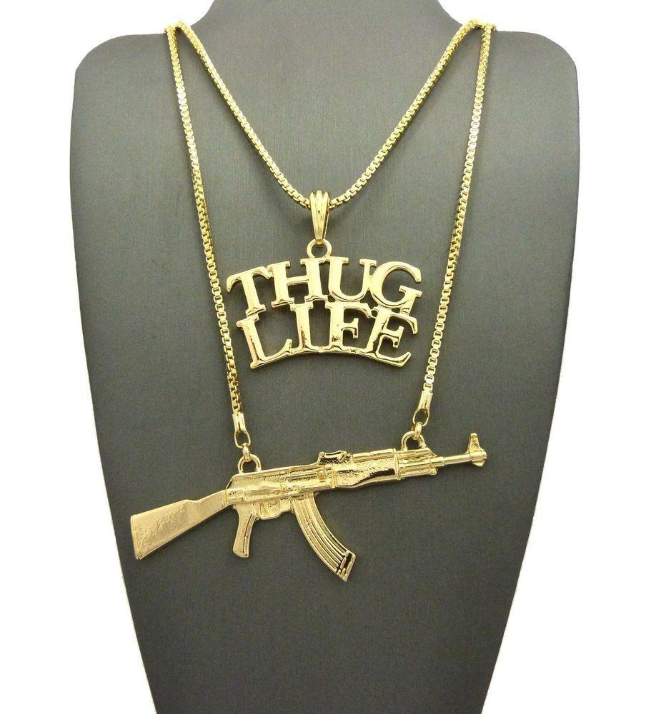 Hip Hop Bling Gold Tone Skull /& Guns Pendant Necklace free 36 chain