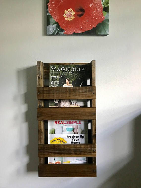 Magazine Rack Wall Mounted Double