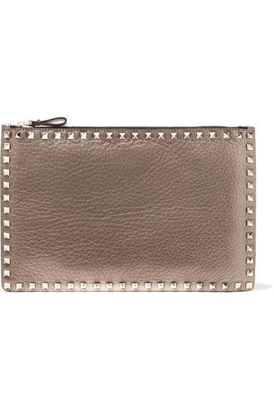 Rockstud Metallic Textured-leather Wallet - Gold Valentino 3OHNr