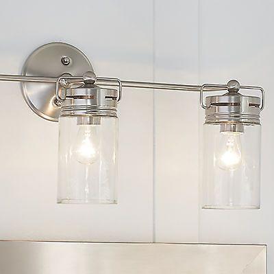 Bathroom Vanity 3 Light Fixture Brushed Nickel Jar Wall