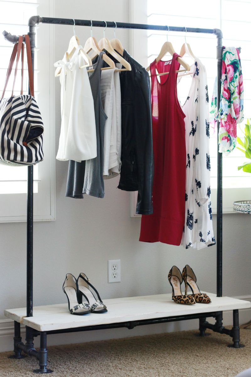 Diy freestanding industrial look garment rack for rooms - Room with no closet ...