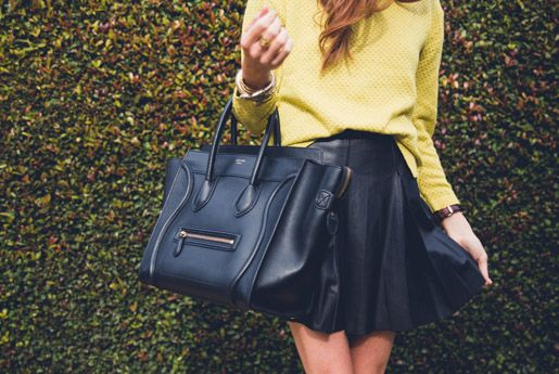 Yellow Jacket and Black Pleated Leather Skirt Think Runway