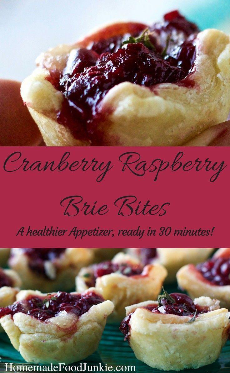 Cranberry Raspberry Brie Bites