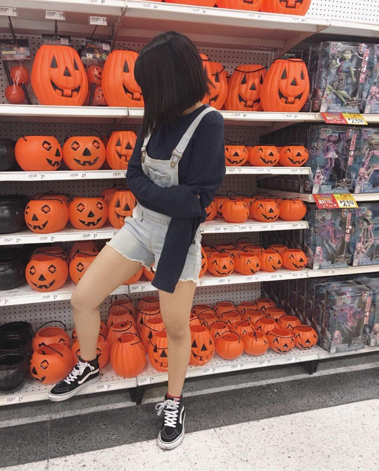 halloween aesthetic orange red black vans hair