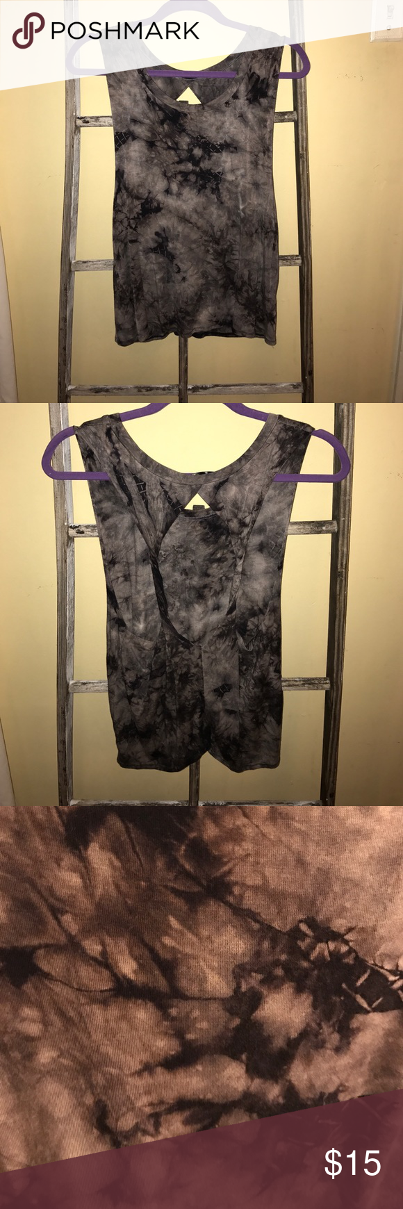 Tie-dyed Tank Open back tie-dyed tank. Made of Rayon with an extremely soft texture. Tie-dye is black and gray. Never worn, no wear or tear! interi Tops