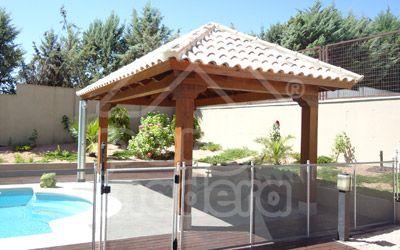Pergomadera cenadores de madera 4 aguas pergolas for Choza de jardin de madera techo plano