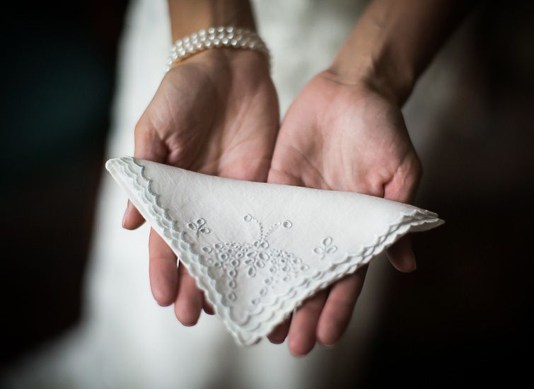 Something Borrowed, a bride's grandmother's antique hankerchief; Wedding Photography :: Photojournalistic Wedding Photographers in NYC, Philadelphia, NJ