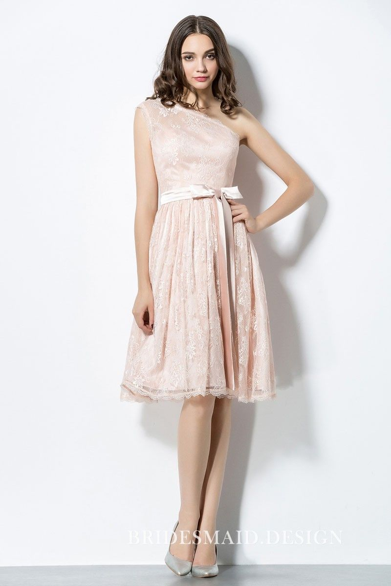 ffb3a569efd Floral blush lace knee length short elegant bridesmaid dress shows off with  elegant asymmetrical one shoulder with scalloped lace trim.
