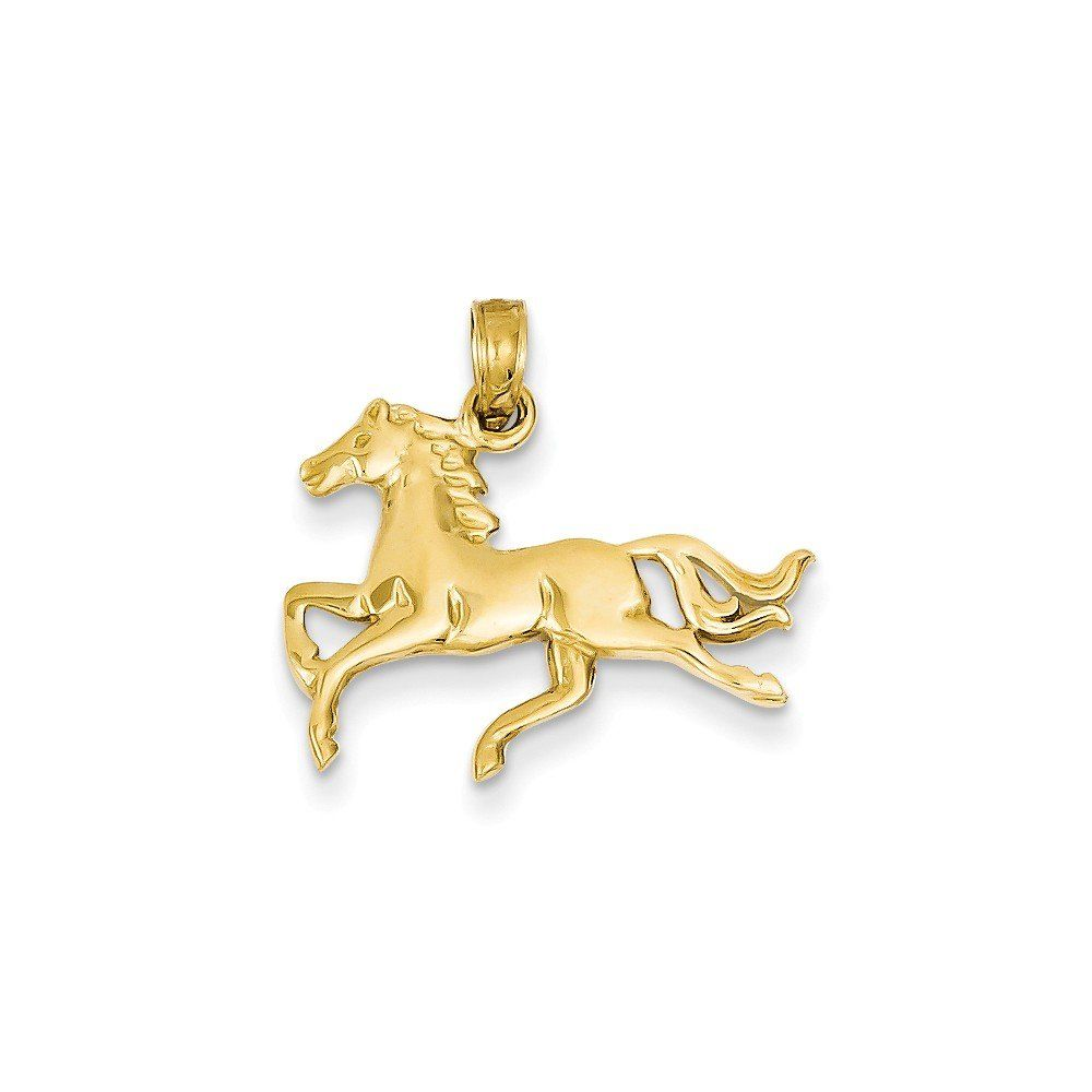 14k Yellow Gold Horse Pendant (21.5 x 19 mm). 14k yellow gold pendant. Approximately 19 x 21.5 mm (length x width). Chain sold separately. Packaged in a satin jewelry pouch.