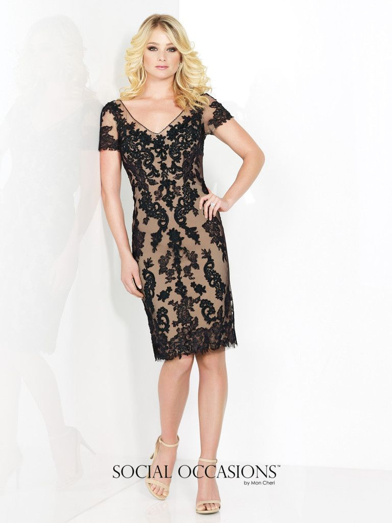Social Occasions by Mon Cheri - 215821 - Short sleeve tulle and lace knee-length sheath, hand-beaded V-neckline, illusion keyhole back, center back slit.Sizes: 4 – 20Colors: Black/Nude, Blush