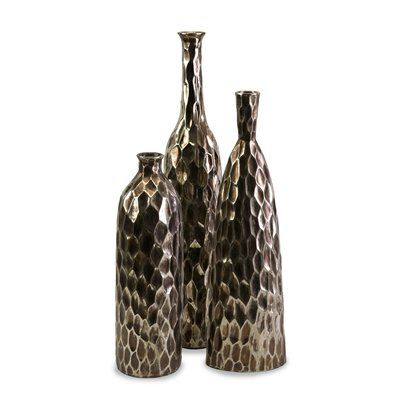 Imax Worldwide 40227 3 Bevan Ceramic Vases Set Of 3 Decor