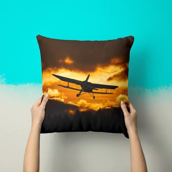 Plane At Sunset Pillow Pilot Gifts