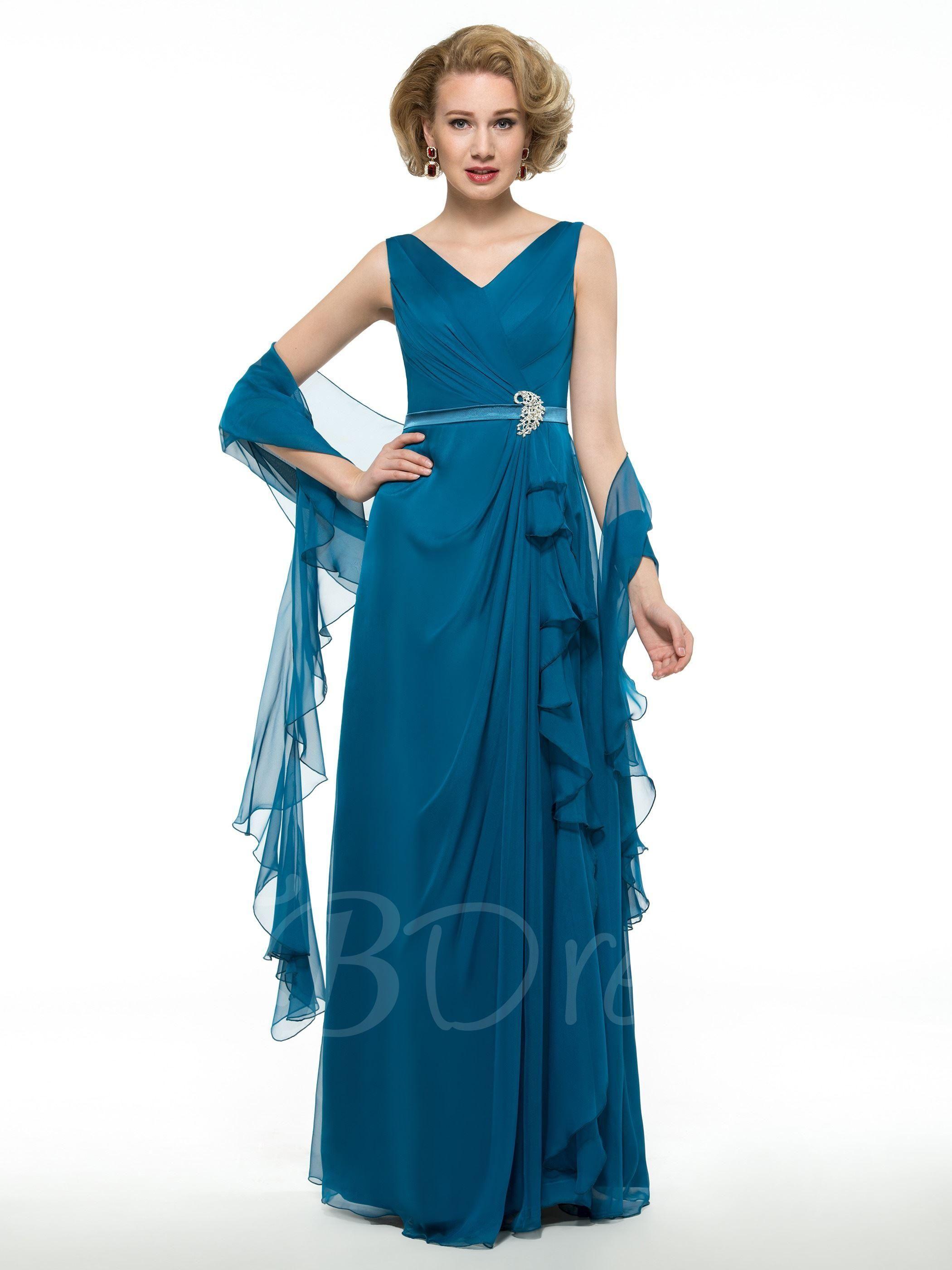 30D Chiffon V-Neck Draped Floor-Length Mother of the Groom Dress ...