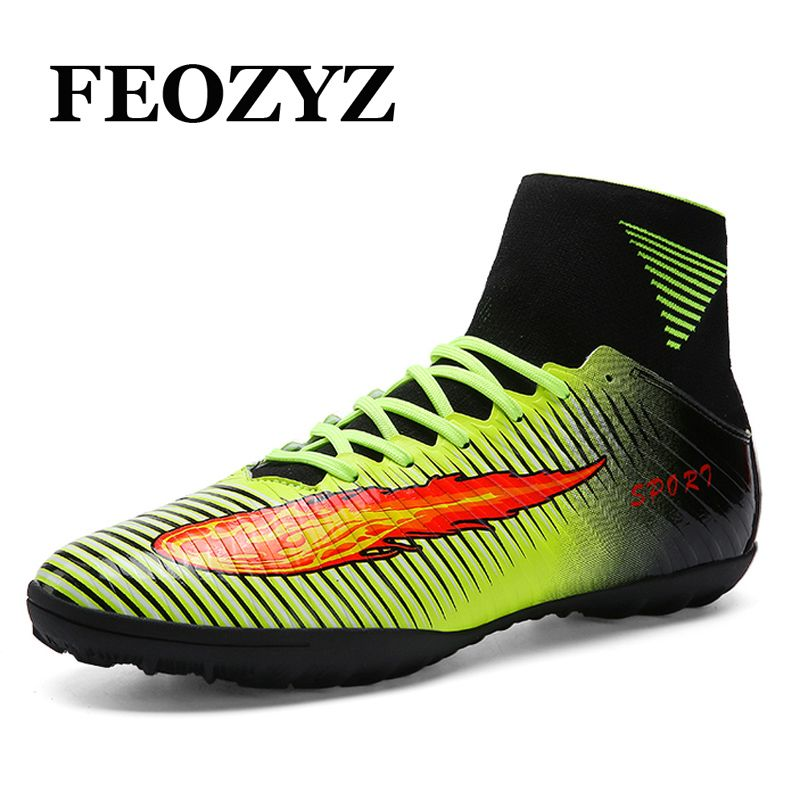 New High Ankle Turf Football Boots Men Outdoor Lawn Superfly Soccer Cleats  Shoes zapatillas deportivas hombre