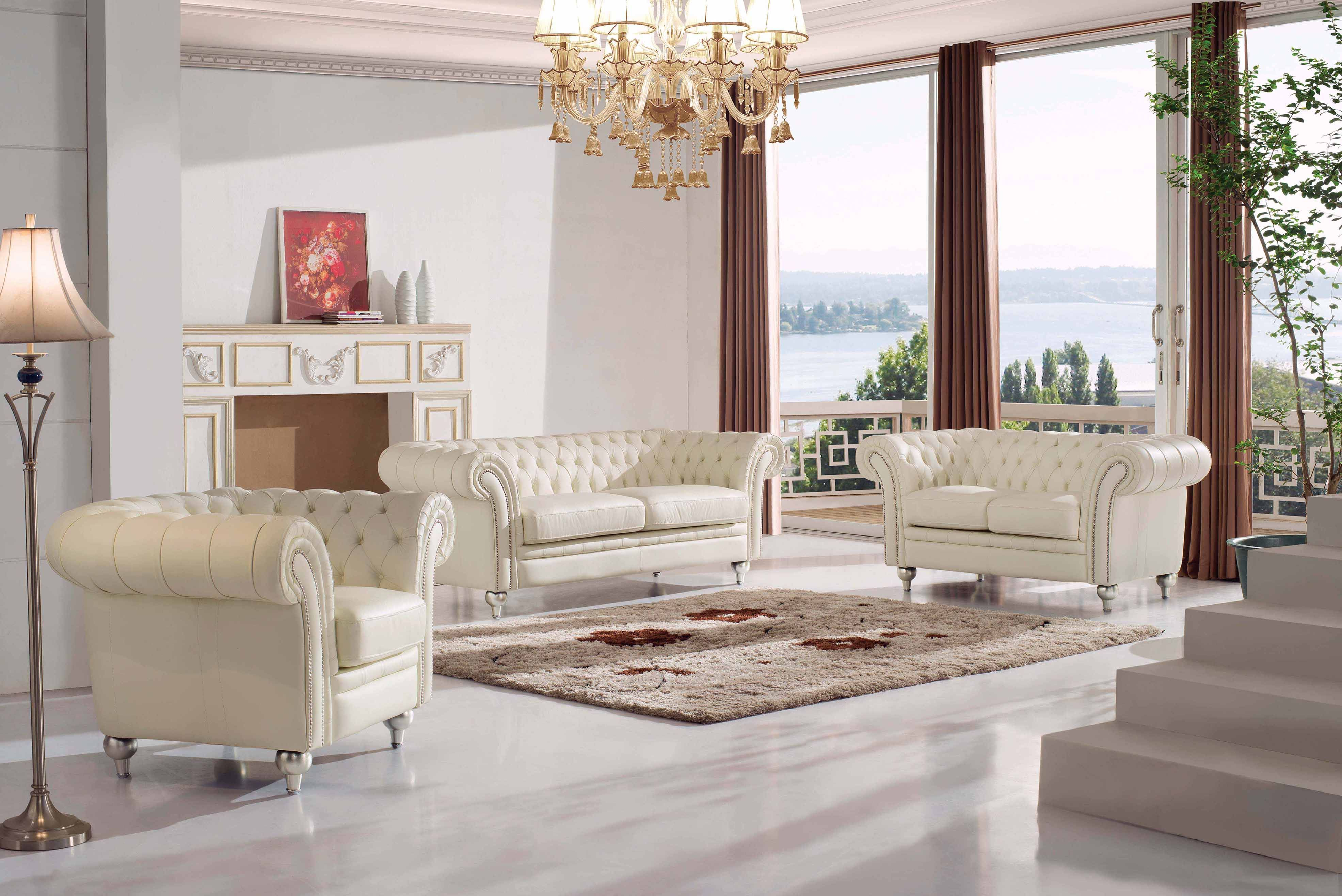 287 3 Seat Sofa Hl By Esf Living Room Leather Living Room Sets Leather Living Room Set #tufted #leather #living #room #set