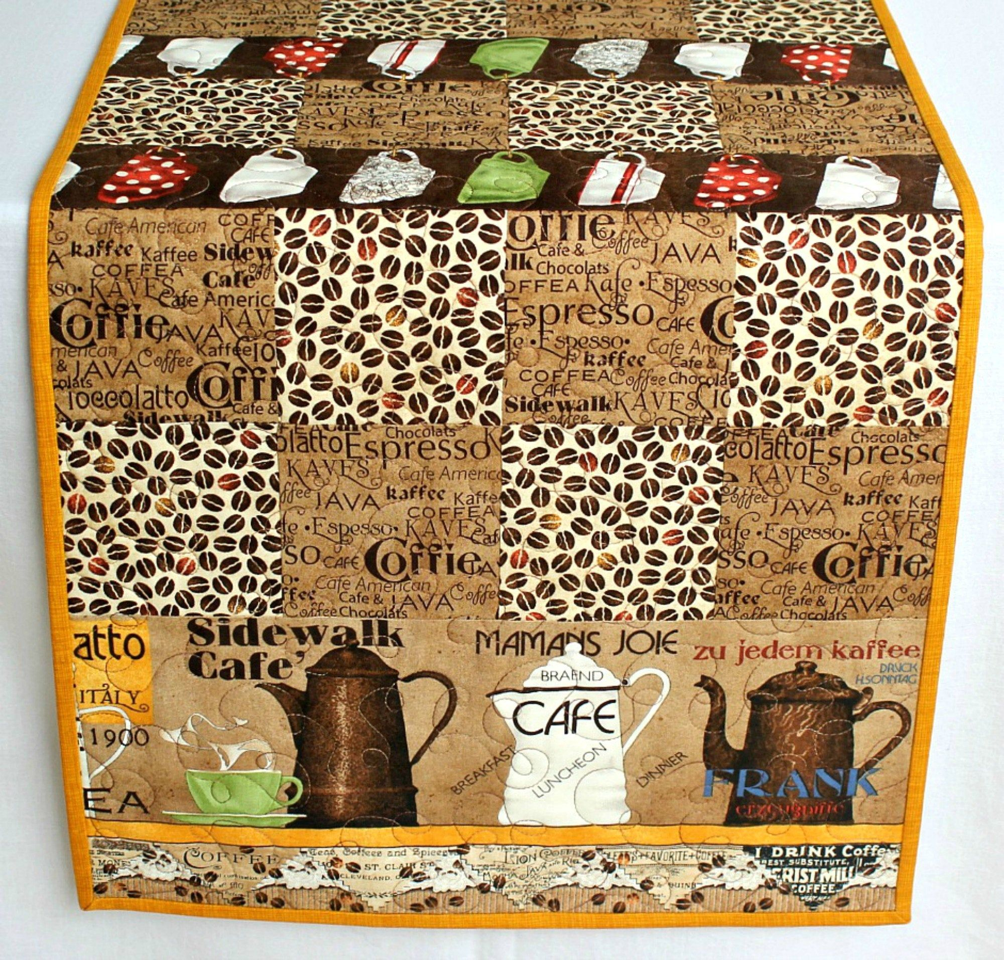 Quilted Table Runner, Coffee Beans, Brown Kitchen Table