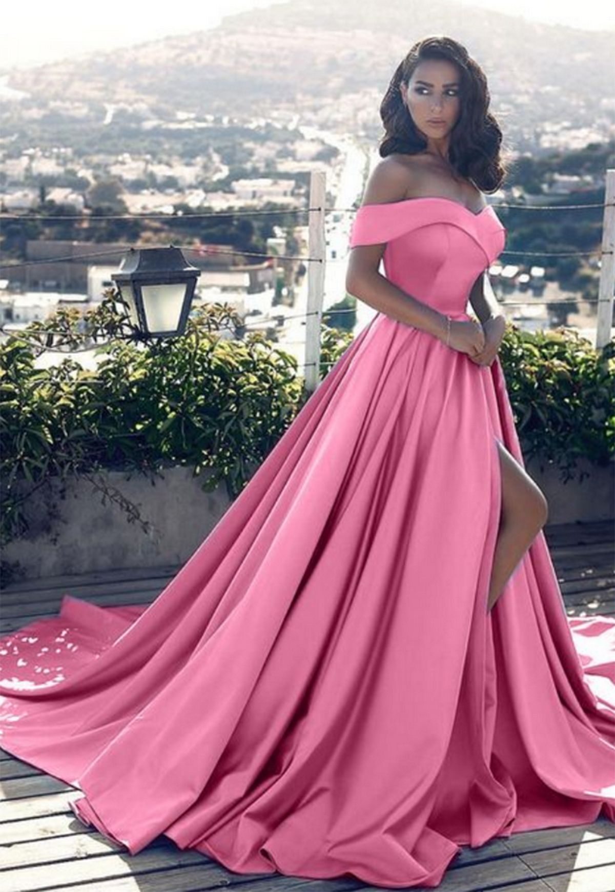 6b279566b27 Stylish pink satin strapless long slit off shoulder evening dresses  prom   dress  promdress  promdresses