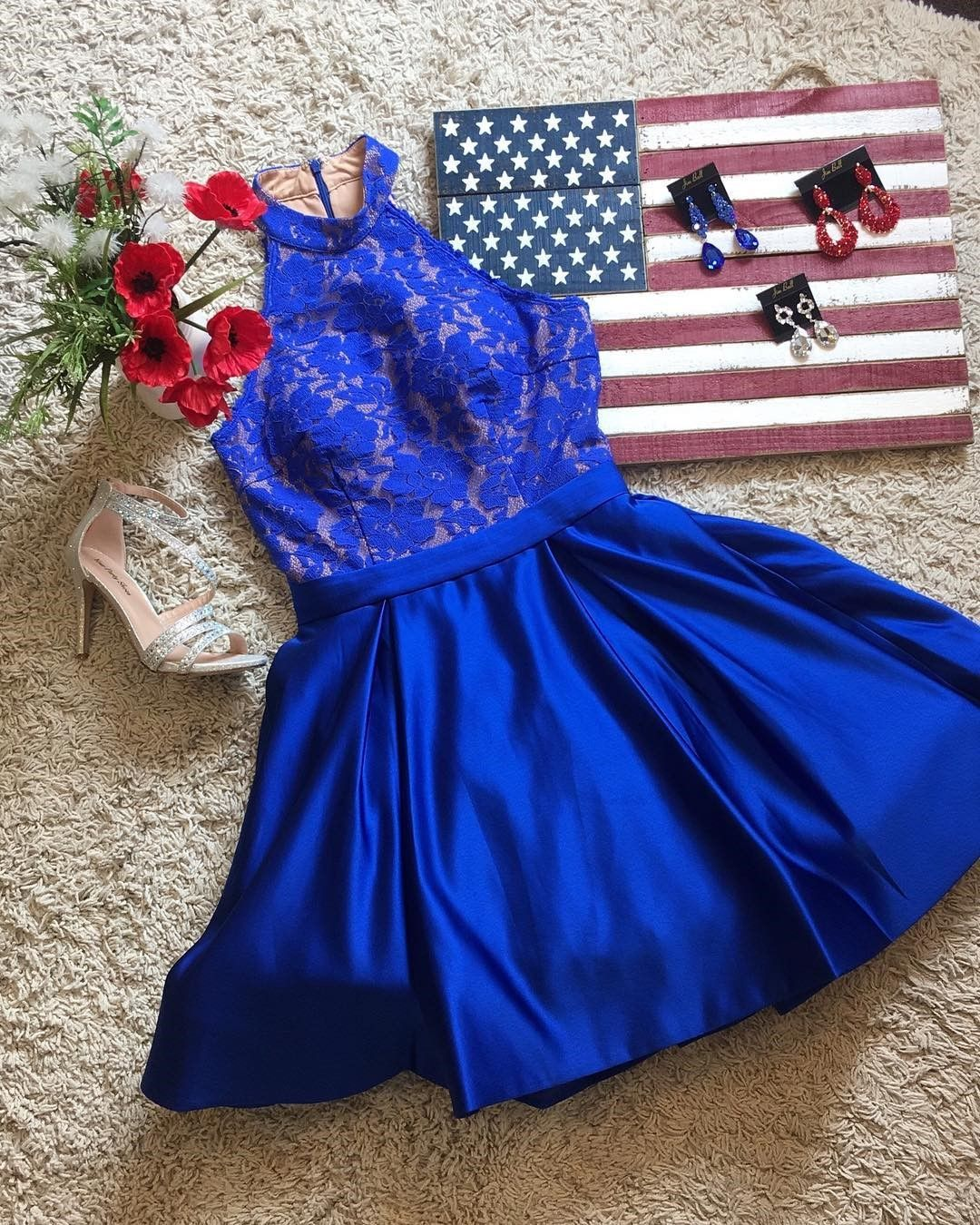 Royal blue high neck cocktail party dress homecoming dress with