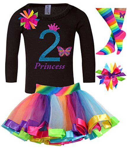 Bubblegum Divas Little Girls 2nd Birthday Butterfly Shirt Rainbow Tutu Socks Hair Bow 4pc Gift Set