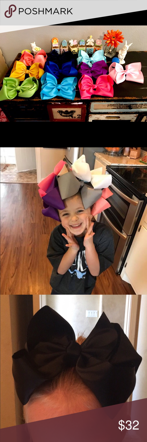 """Set Of 10 Big 8"""" Boutique Bows This 8"""" hair bow is the perfect size for any little girl. Collection comes with 10 different cheerful colors. Made with grosgrain ribbon and alligator hair clips. This would make a great gift. Accessories Hair Accessories"""